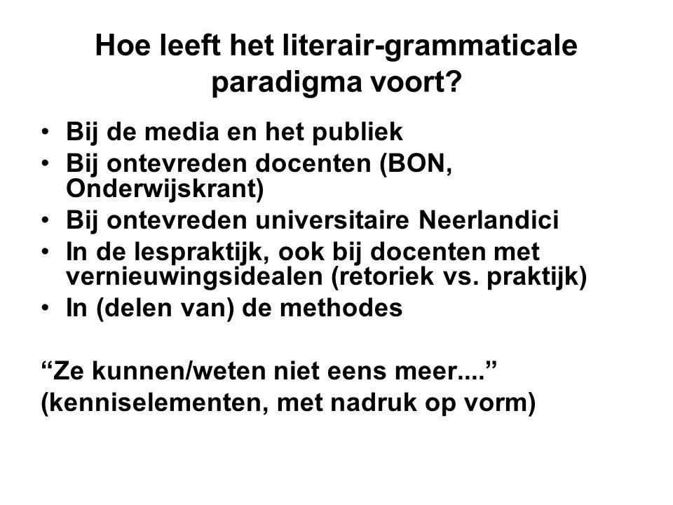 Hoe leeft het literair-grammaticale paradigma voort? •Bij de media en het publiek •Bij ontevreden docenten (BON, Onderwijskrant) •Bij ontevreden unive
