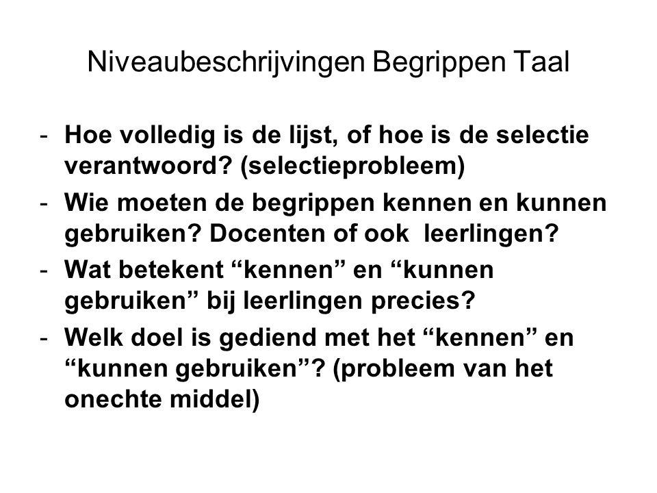 Niveaubeschrijvingen Begrippen Taal -Hoe volledig is de lijst, of hoe is de selectie verantwoord? (selectieprobleem) -Wie moeten de begrippen kennen e