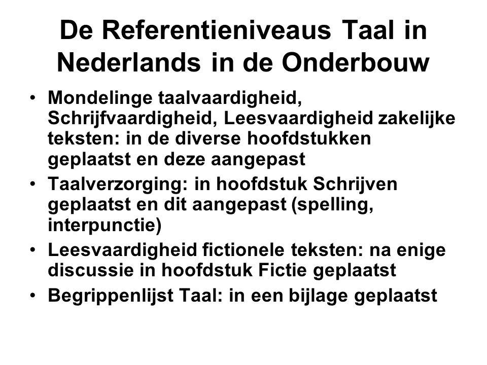 De Referentieniveaus Taal in Nederlands in de Onderbouw •Mondelinge taalvaardigheid, Schrijfvaardigheid, Leesvaardigheid zakelijke teksten: in de dive