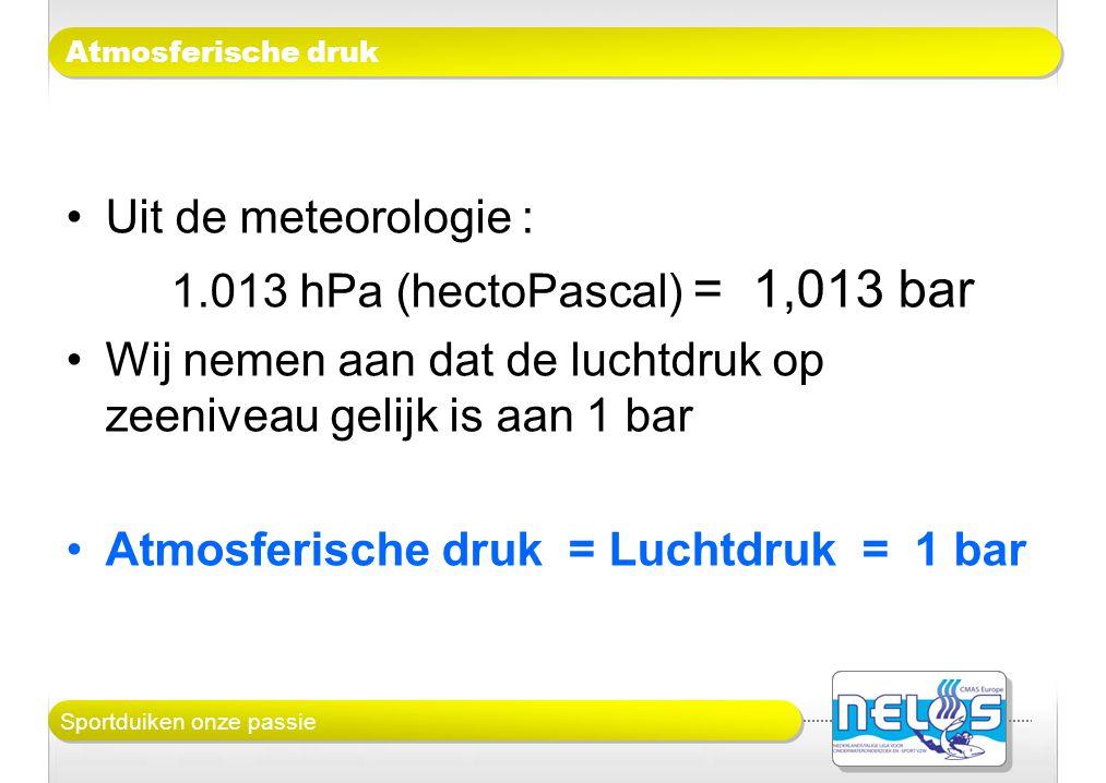Sportduiken onze passie Atmosferische druk •Uit de meteorologie : 1.013 hPa (hectoPascal) = 1,013 bar •Wij nemen aan dat de luchtdruk op zeeniveau gel