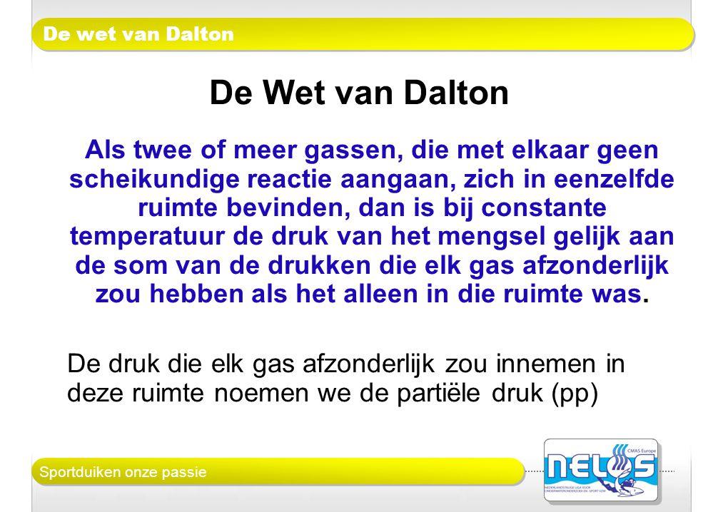 Sportduiken onze passie De wet van Dalton De Wet van Dalton Als twee of meer gassen, die met elkaar geen scheikundige reactie aangaan, zich in eenzelf