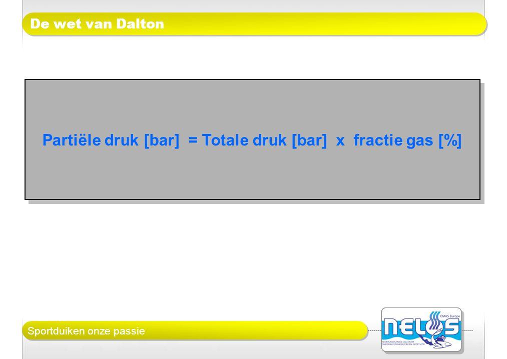 Sportduiken onze passie De wet van Dalton Partiële druk [bar] = Totale druk [bar] x fractie gas [%]