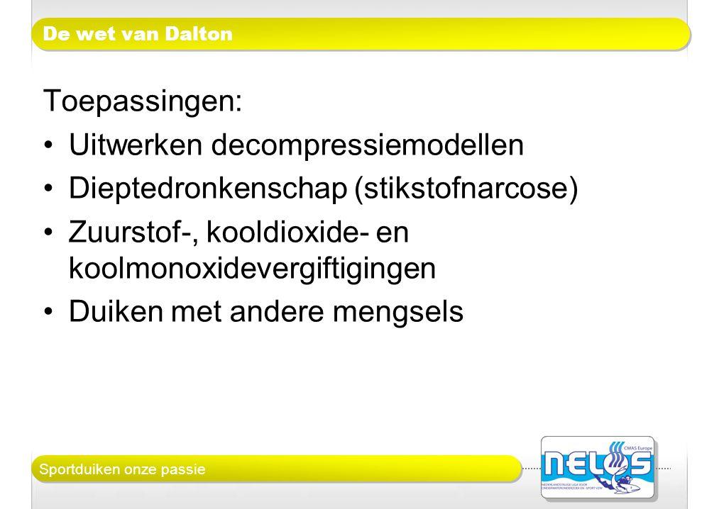 Sportduiken onze passie De wet van Dalton Toepassingen: •Uitwerken decompressiemodellen •Dieptedronkenschap (stikstofnarcose) •Zuurstof-, kooldioxide-