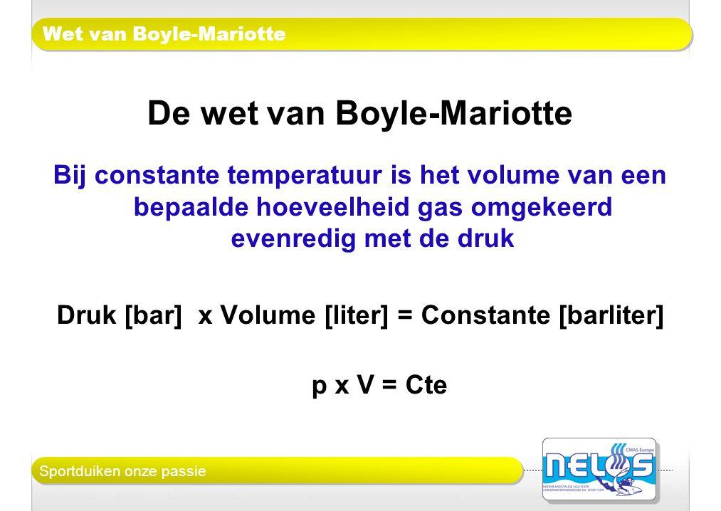 Sportduiken onze passie Wet van Boyle-Mariotte De wet van Boyle-Mariotte Bij constante temperatuur is het volume van een bepaalde hoeveelheid gas omge