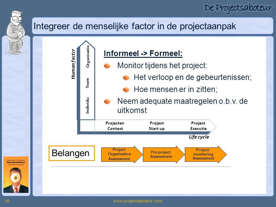 www.projectsaboteur.com 16 Integreer de menselijke factor in de projectaanpak Belangen Projecten Context Project Start up Project Executie Individu Te