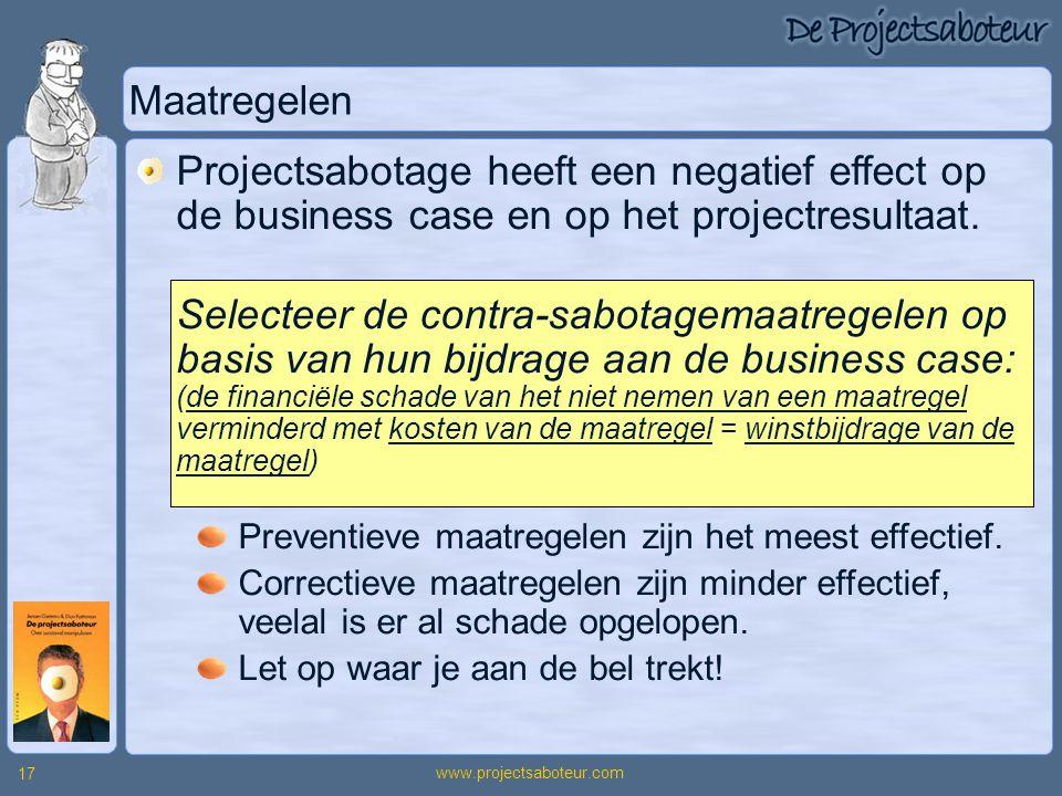 www.projectsaboteur.com 17 Maatregelen Projectsabotage heeft een negatief effect op de business case en op het projectresultaat. Selecteer de contra-s