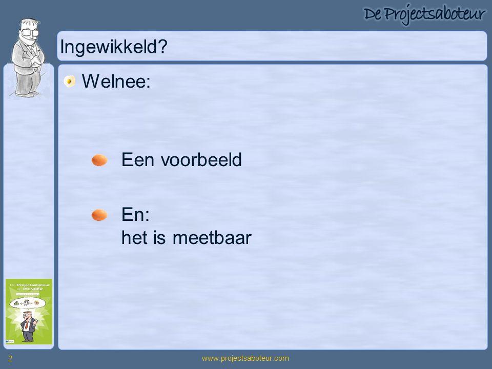 www.projectsaboteur.com 2 Ingewikkeld? Welnee: Een voorbeeld En: het is meetbaar
