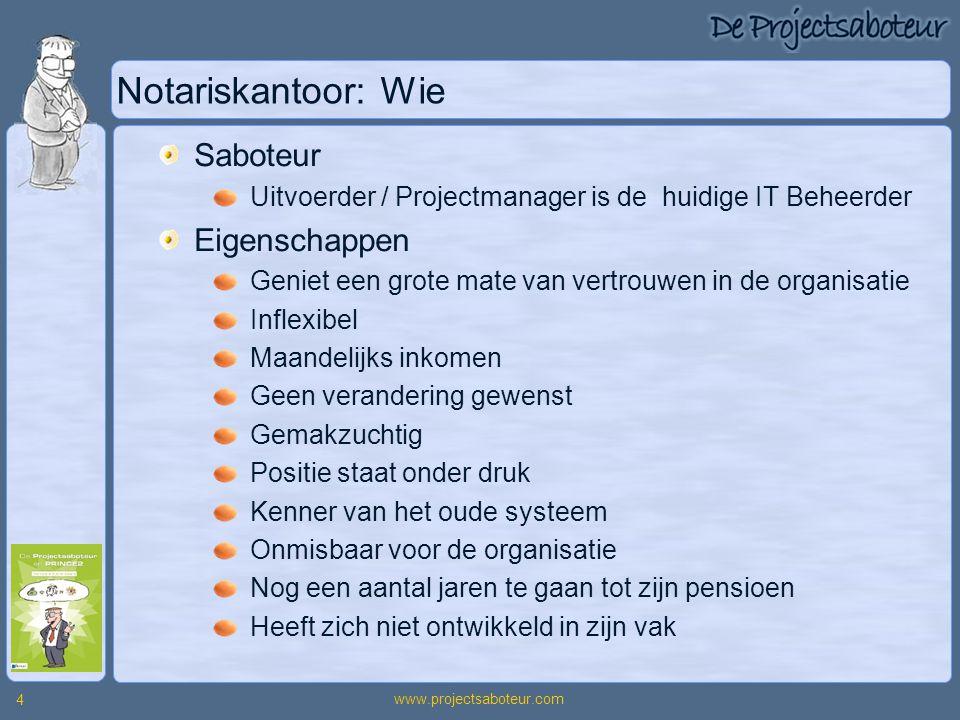www.projectsaboteur.com 4 Notariskantoor: Wie Saboteur Uitvoerder / Projectmanager is de huidige IT Beheerder Eigenschappen Geniet een grote mate van