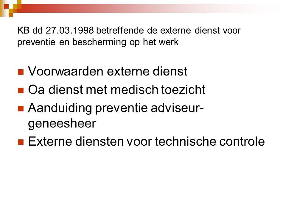 KB dd 27.03.1998 betreffende de externe dienst voor preventie en bescherming op het werk  Voorwaarden externe dienst  Oa dienst met medisch toezicht  Aanduiding preventie adviseur- geneesheer  Externe diensten voor technische controle