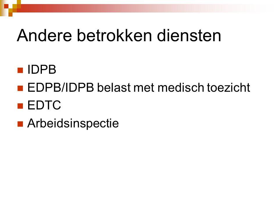 Andere betrokken diensten  IDPB  EDPB/IDPB belast met medisch toezicht  EDTC  Arbeidsinspectie