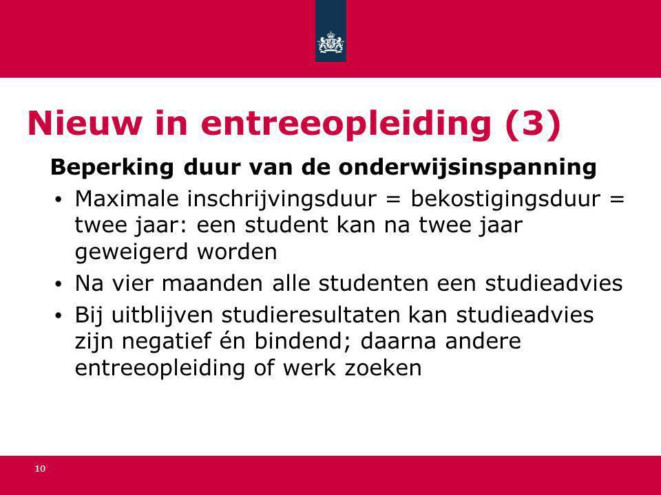10 Nieuw in entreeopleiding (3) Beperking duur van de onderwijsinspanning Maximale inschrijvingsduur = bekostigingsduur = twee jaar: een student kan n