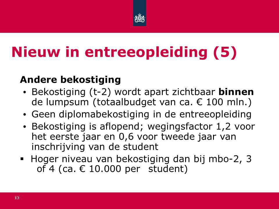 13 Nieuw in entreeopleiding (5) Andere bekostiging Bekostiging (t-2) wordt apart zichtbaar binnen de lumpsum (totaalbudget van ca. € 100 mln.) Geen di