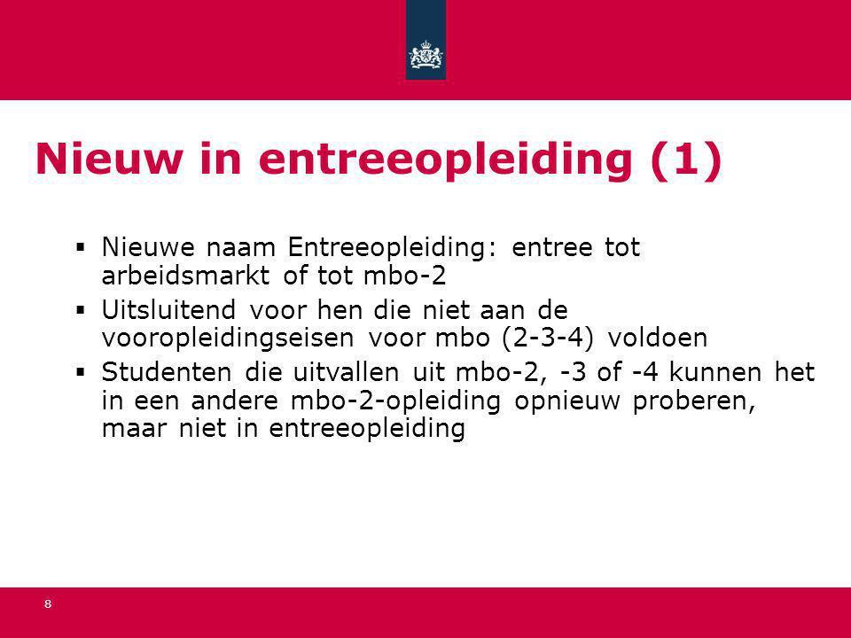 8 Nieuw in entreeopleiding (1)  Nieuwe naam Entreeopleiding: entree tot arbeidsmarkt of tot mbo-2  Uitsluitend voor hen die niet aan de vooropleidin