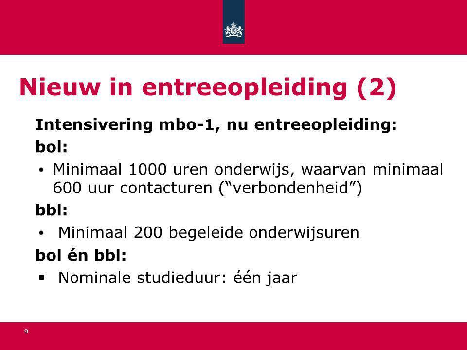 """9 Nieuw in entreeopleiding (2) Intensivering mbo-1, nu entreeopleiding: bol: Minimaal 1000 uren onderwijs, waarvan minimaal 600 uur contacturen (""""verb"""