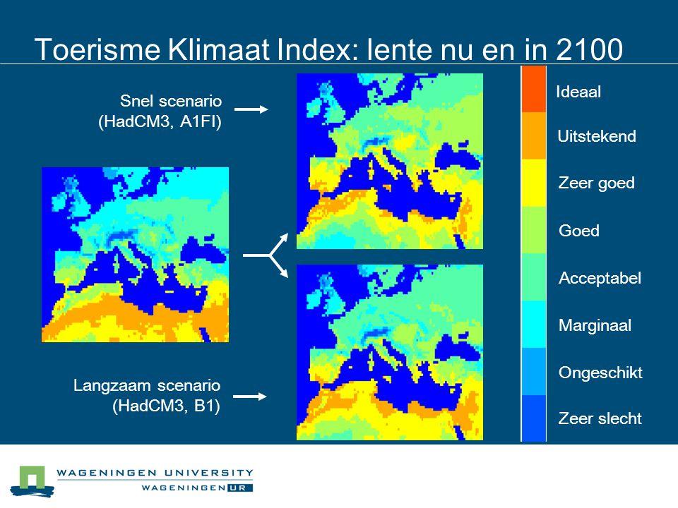 Toerisme Klimaat Index: lente nu en in 2100 Langzaam scenario (HadCM3, B1) Snel scenario (HadCM3, A1FI) Uitstekend Ideaal Zeer goed Goed Acceptabel Ma