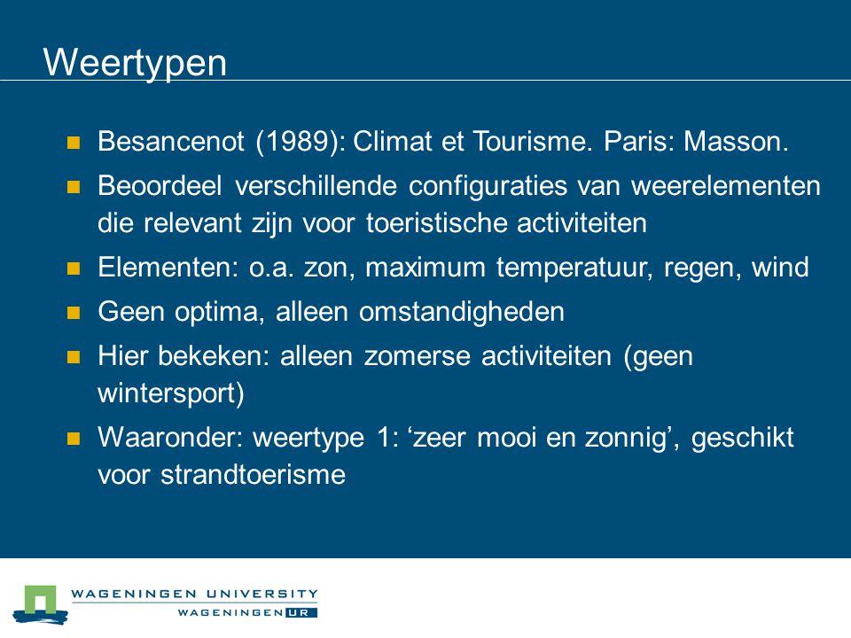  Besancenot (1989): Climat et Tourisme. Paris: Masson.  Beoordeel verschillende configuraties van weerelementen die relevant zijn voor toeristische
