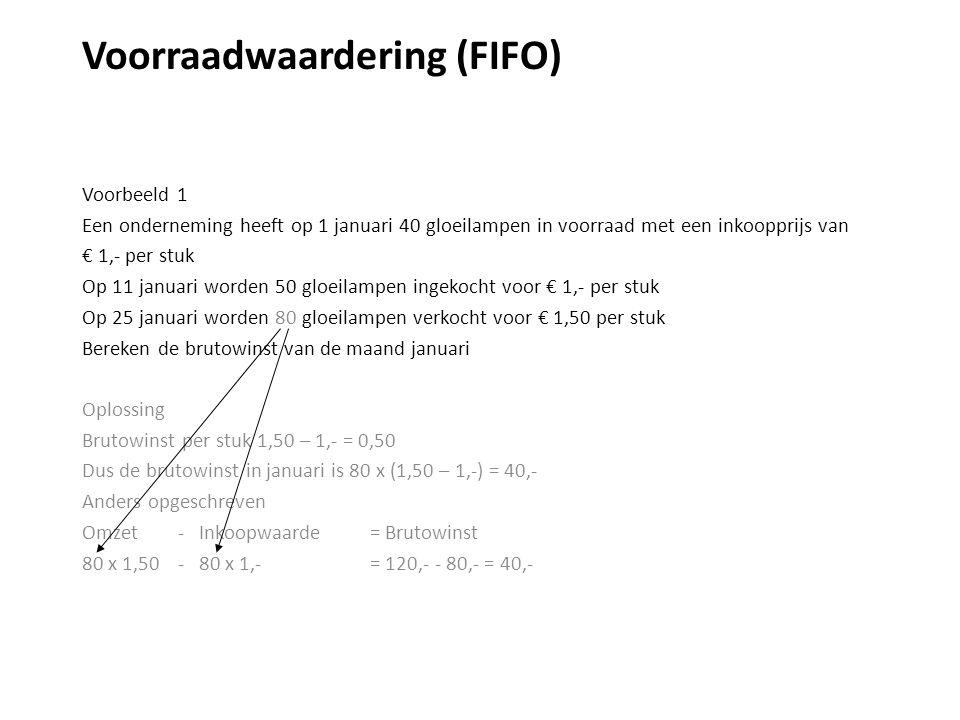 Voorraadwaardering (FIFO) Voorbeeld 1 Een onderneming heeft op 1 januari 40 gloeilampen in voorraad met een inkoopprijs van € 1,- per stuk Op 11 januari worden 50 gloeilampen ingekocht voor € 1,- per stuk Op 25 januari worden 80 gloeilampen verkocht voor € 1,50 per stuk Bereken de brutowinst van de maand januari Oplossing Brutowinst per stuk 1,50 – 1,- = 0,50 Dus de brutowinst in januari is 80 x (1,50 – 1,-) = 40,- Anders opgeschreven Omzet - Inkoopwaarde = Brutowinst 80 x 1,50 - 80 x 1,-= 120,- - 80,- = 40,-