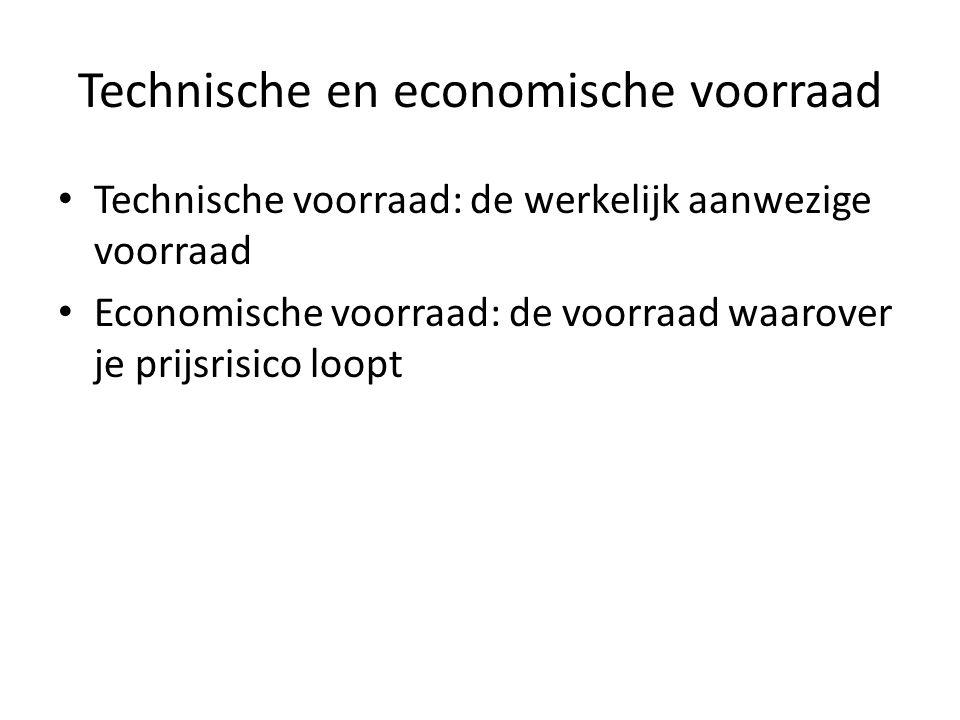 Technische en economische voorraad • Technische voorraad: de werkelijk aanwezige voorraad • Economische voorraad: de voorraad waarover je prijsrisico loopt