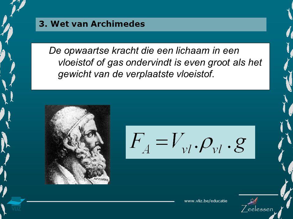 www.vliz.be/educatie De opwaartse kracht die een lichaam in een vloeistof of gas ondervindt is even groot als het gewicht van de verplaatste vloeistof.