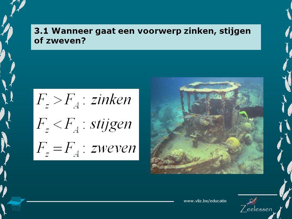 www.vliz.be/educatie 3.1 Wanneer gaat een voorwerp zinken, stijgen of zweven?