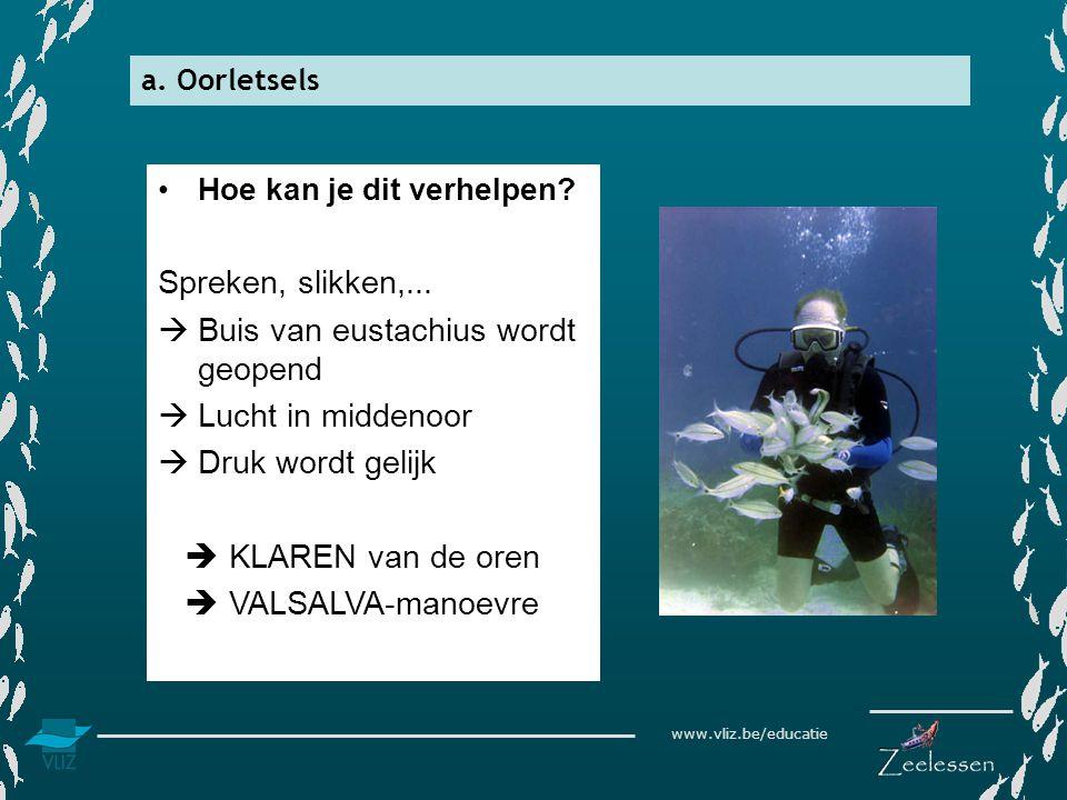 www.vliz.be/educatie a. Oorletsels •Hoe kan je dit verhelpen? Spreken, slikken,...  Buis van eustachius wordt geopend  Lucht in middenoor  Druk wor