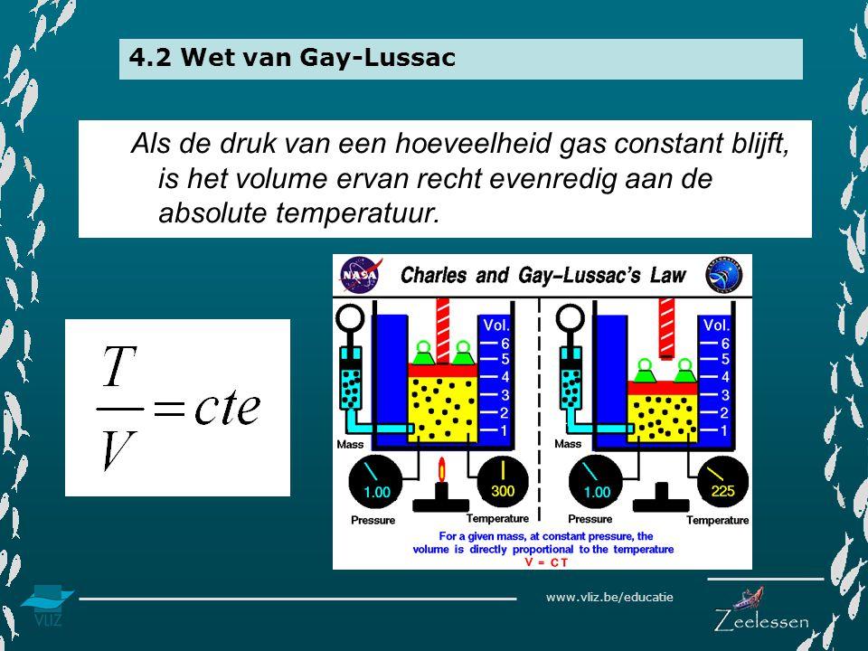 www.vliz.be/educatie 4.2 Wet van Gay-Lussac Als de druk van een hoeveelheid gas constant blijft, is het volume ervan recht evenredig aan de absolute temperatuur.
