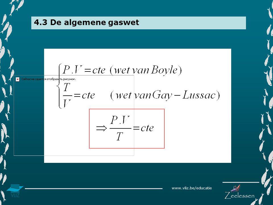 www.vliz.be/educatie 4.3 De algemene gaswet