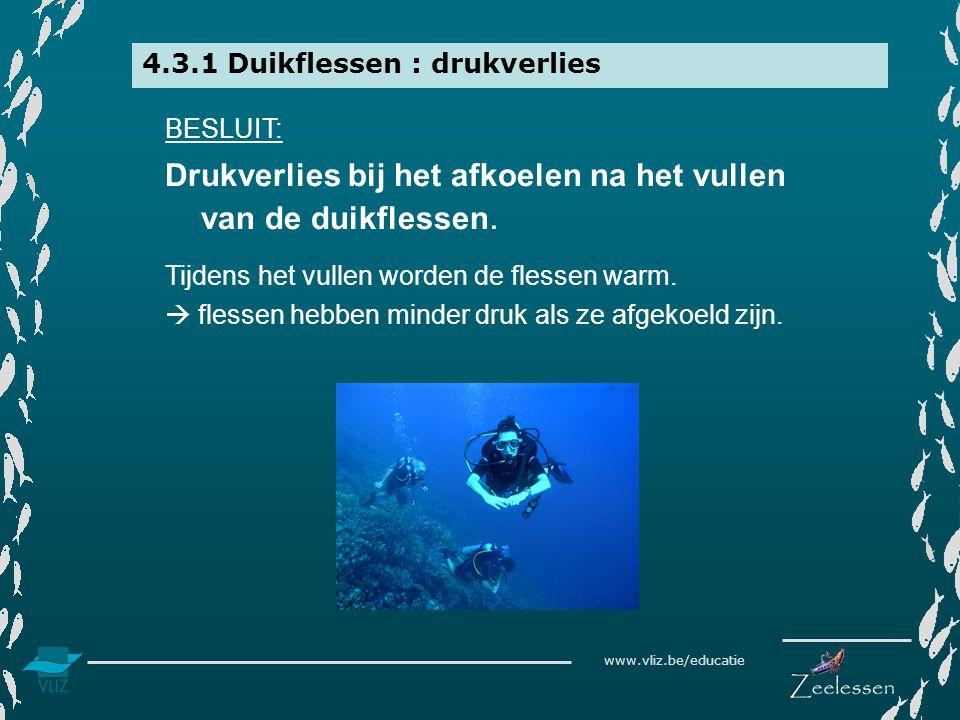 www.vliz.be/educatie 4.3.1 Duikflessen : drukverlies BESLUIT: Drukverlies bij het afkoelen na het vullen van de duikflessen. Tijdens het vullen worden