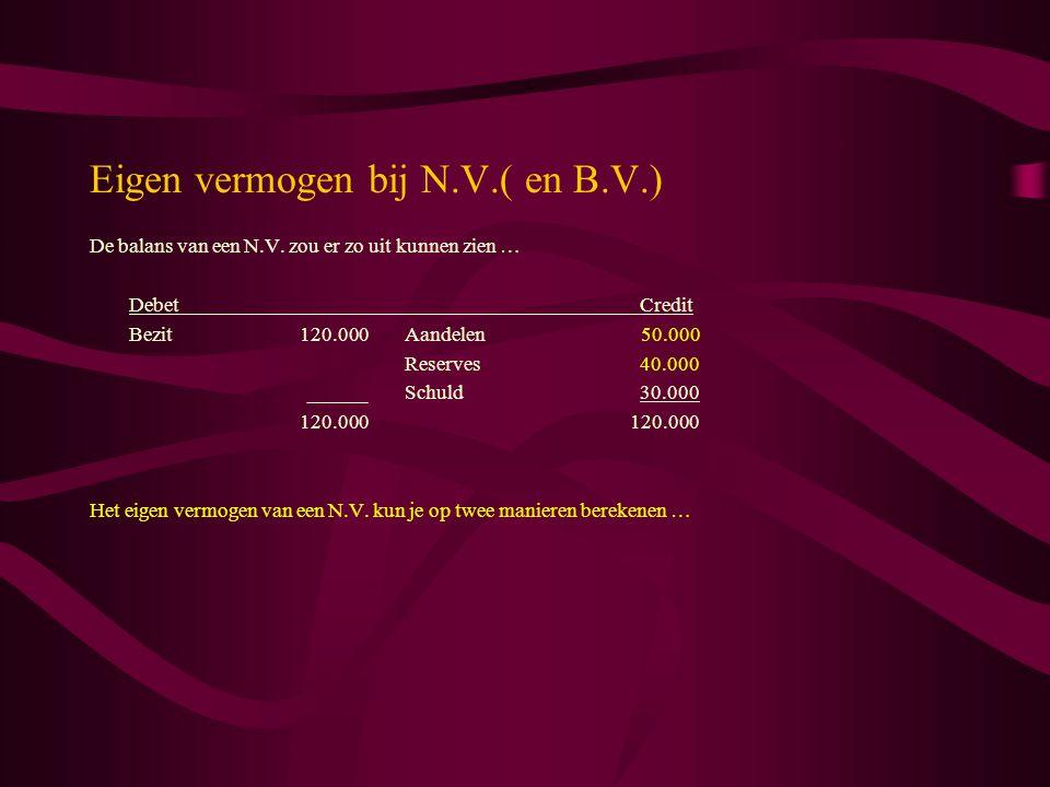 Eigen vermogen bij N.V.( en B.V.) De balans van een N.V. zou er zo uit kunnen zien … Debet Credit Bezit120.000Aandelen 50.000 Reserves 40.000 Schuld 3