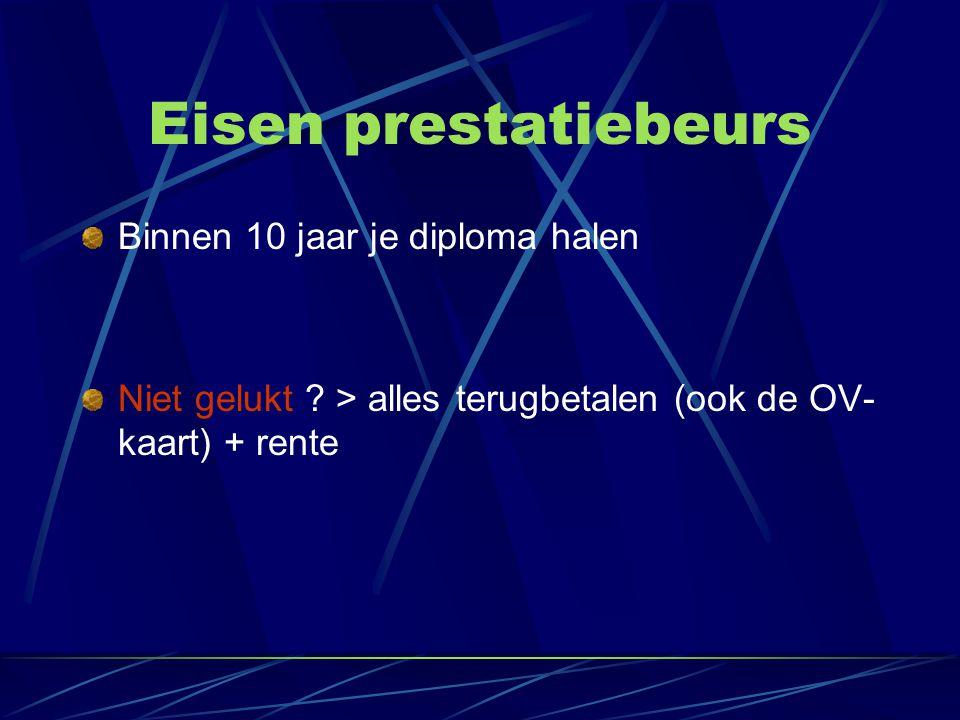 Eisen prestatiebeurs Binnen 10 jaar je diploma halen Niet gelukt ? > alles terugbetalen (ook de OV- kaart) + rente