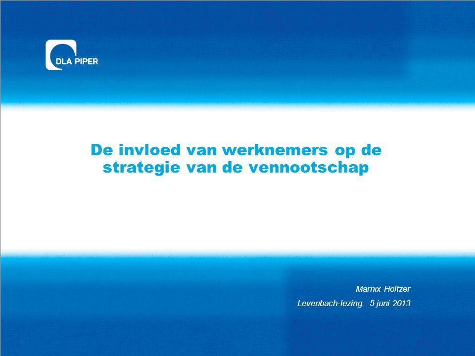 De invloed van werknemers op de strategie van de vennootschap Marnix Holtzer Levenbach-lezing 5 juni 2013