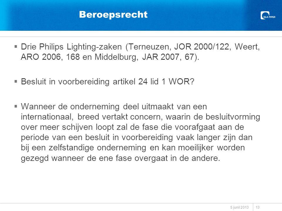 Beroepsrecht  Drie Philips Lighting-zaken (Terneuzen, JOR 2000/122, Weert, ARO 2006, 168 en Middelburg, JAR 2007, 67).