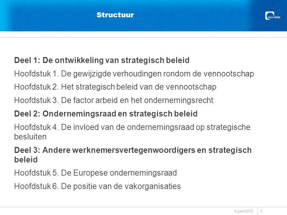 Probleemstelling Welke invloed kunnen werknemers uitoefenen op het strategisch beleid van de Nederlandse vennootschap, deel uitmakend van een Nederlands of internationaal concern, hoe heeft deze invloed zich ontwikkeld en welke mate van invloed op het strategisch beleid zou evenwichtig zijn in het licht van de maatschappelijke opvattingen op dat punt.