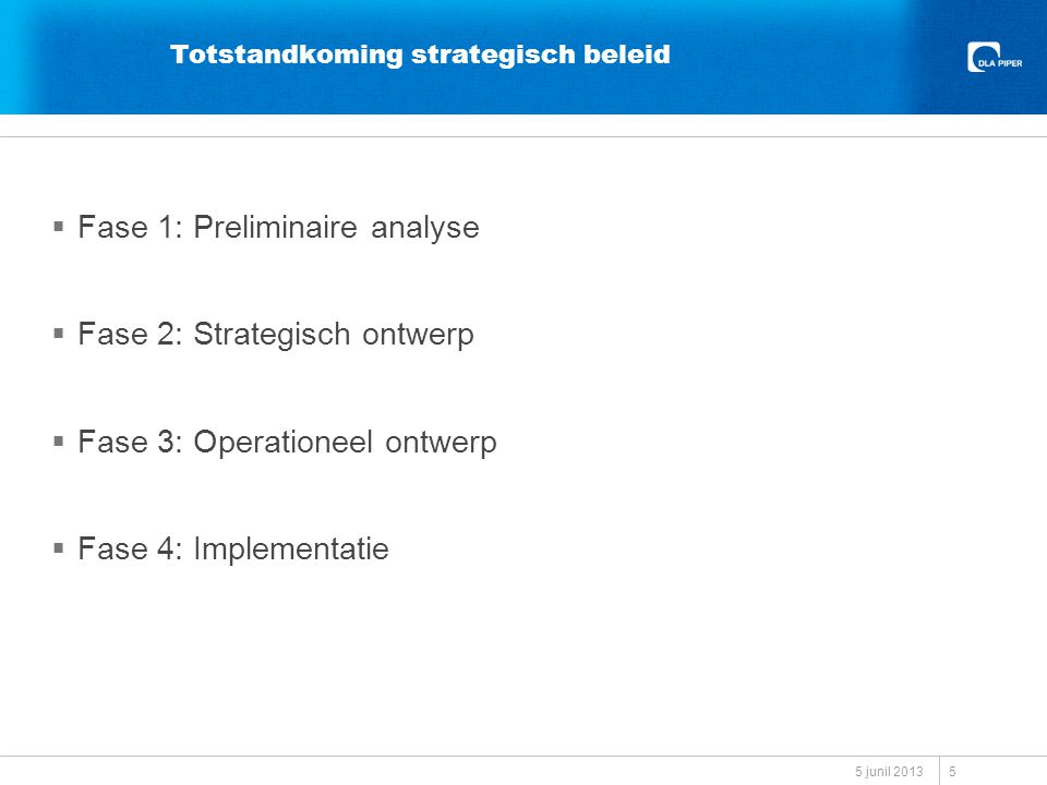 Totstandkoming strategisch beleid  Fase 1: Preliminaire analyse  Fase 2: Strategisch ontwerp  Fase 3: Operationeel ontwerp  Fase 4: Implementatie 5 junil 2013 5