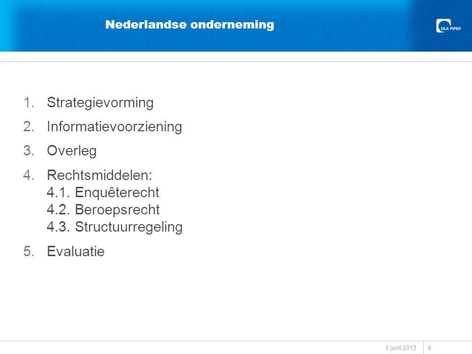 Nederlandse onderneming 1.Strategievorming 2.Informatievoorziening 3.Overleg 4.Rechtsmiddelen: 4.1.
