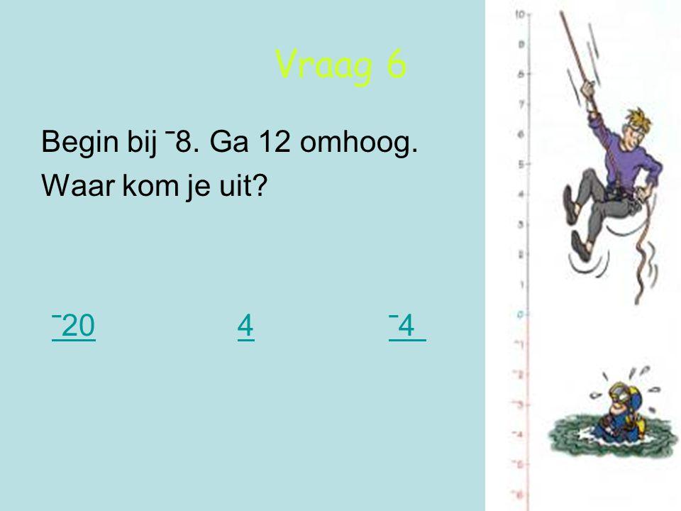 Vraag 6 Begin bij ˉ8. Ga 12 omhoog. Waar kom je uit? ˉ20 4 ˉ4 ˉ204ˉ4