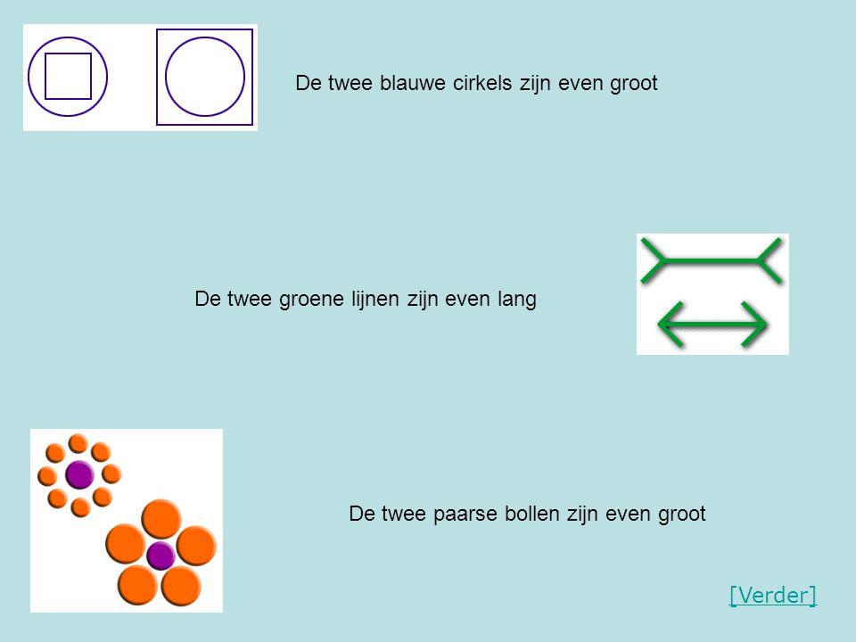 De twee blauwe cirkels zijn even groot De twee groene lijnen zijn even lang De twee paarse bollen zijn even groot [Verder]