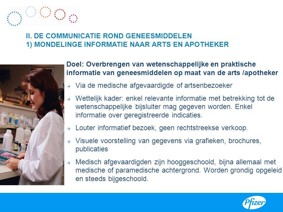 Doel: Overbrengen van wetenschappelijke en praktische informatie van geneesmiddelen op maat van de arts /apotheker  Via de medische afgevaardigde of
