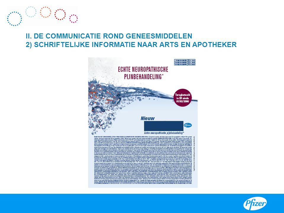 II. DE COMMUNICATIE ROND GENEESMIDDELEN 2) SCHRIFTELIJKE INFORMATIE NAAR ARTS EN APOTHEKER