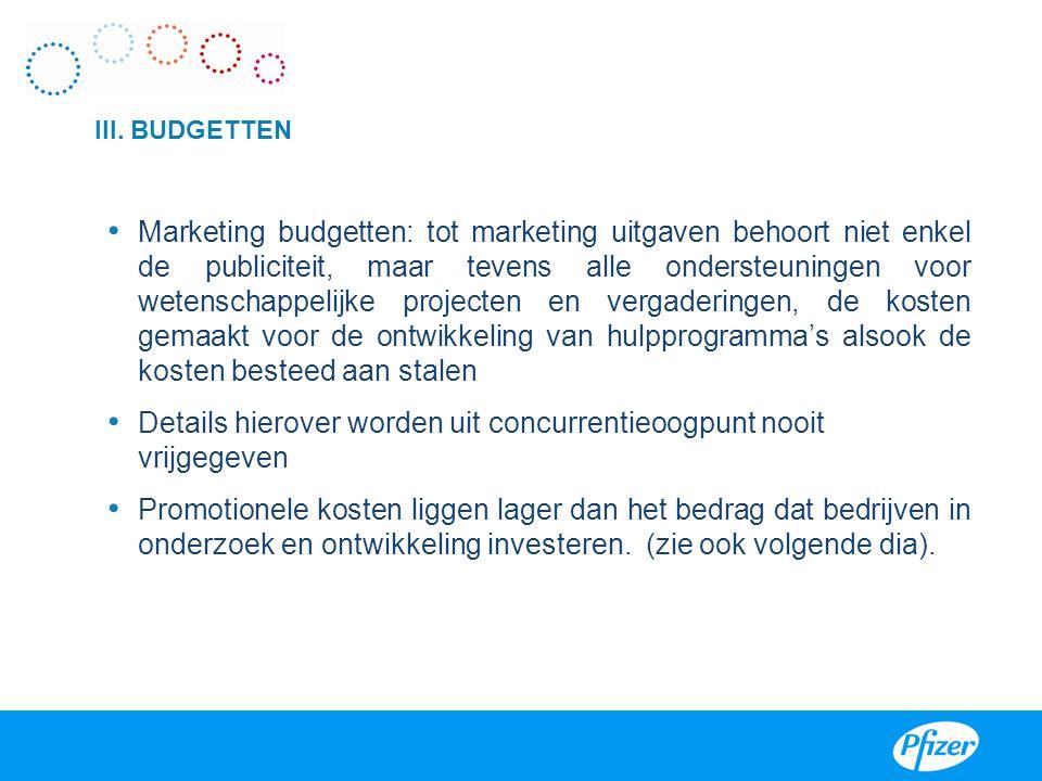 III. BUDGETTEN • Marketing budgetten: tot marketing uitgaven behoort niet enkel de publiciteit, maar tevens alle ondersteuningen voor wetenschappelijk