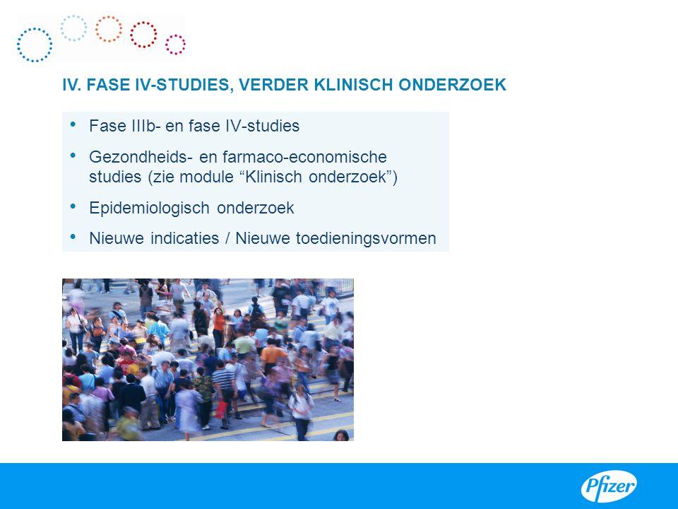 """IV. FASE IV-STUDIES, VERDER KLINISCH ONDERZOEK • Fase IIIb- en fase IV-studies • Gezondheids- en farmaco-economische studies (zie module """"Klinisch ond"""