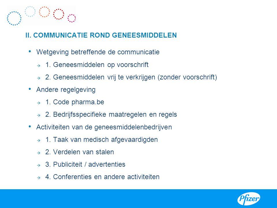 II. COMMUNICATIE ROND GENEESMIDDELEN • Wetgeving betreffende de communicatie  1. Geneesmiddelen op voorschrift  2. Geneesmiddelen vrij te verkrijgen