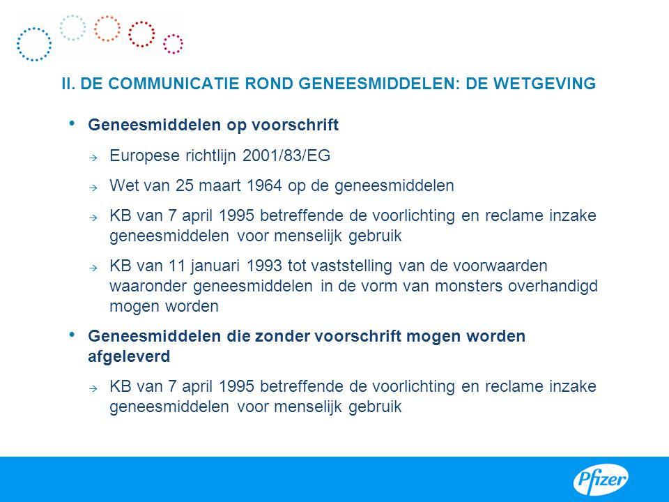 II. DE COMMUNICATIE ROND GENEESMIDDELEN: DE WETGEVING • Geneesmiddelen op voorschrift  Europese richtlijn 2001/83/EG  Wet van 25 maart 1964 op de ge