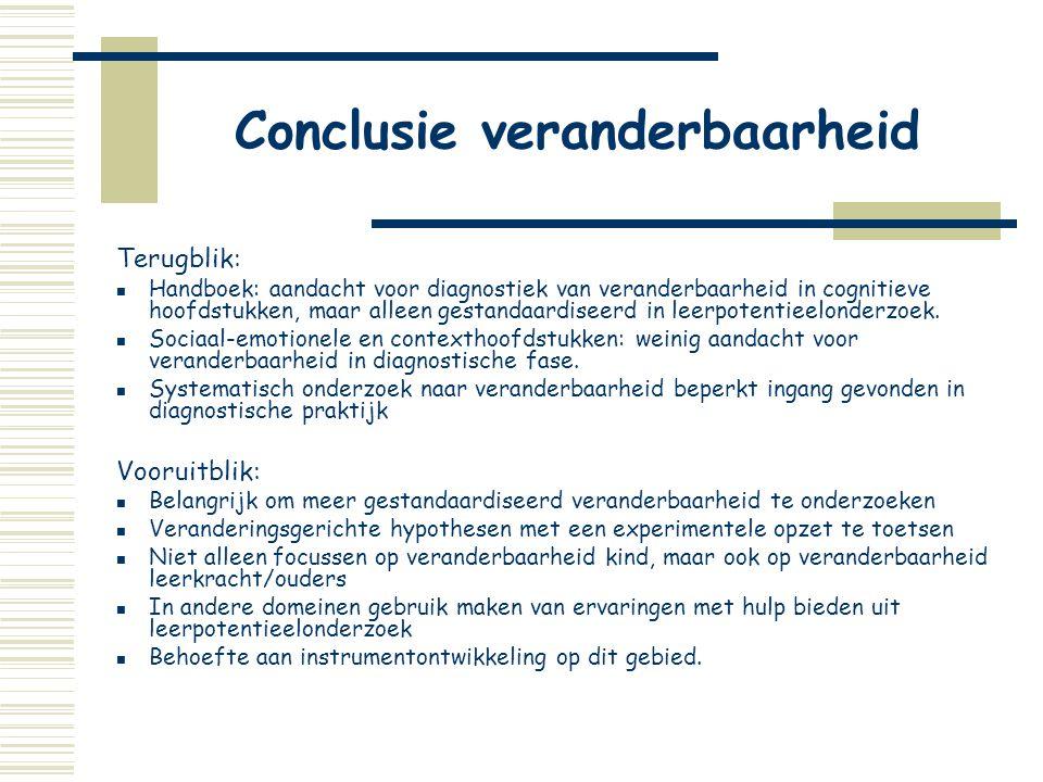 Conclusie veranderbaarheid Terugblik:  Handboek: aandacht voor diagnostiek van veranderbaarheid in cognitieve hoofdstukken, maar alleen gestandaardis
