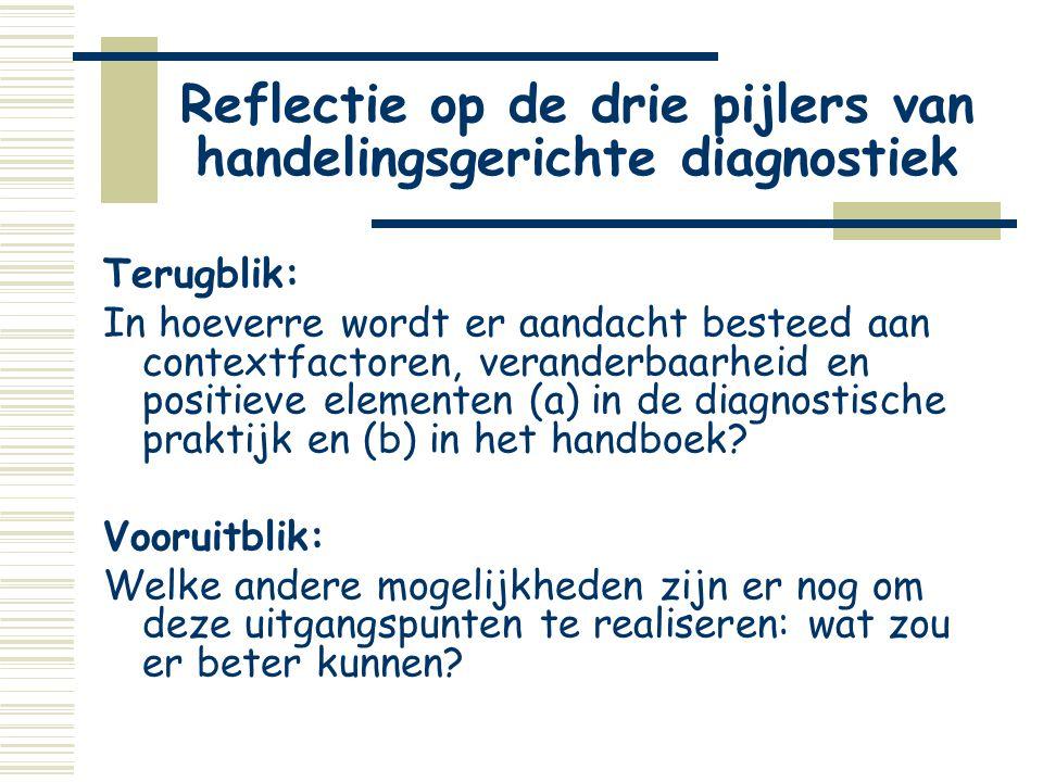 Reflectie op de drie pijlers van handelingsgerichte diagnostiek Terugblik: In hoeverre wordt er aandacht besteed aan contextfactoren, veranderbaarheid