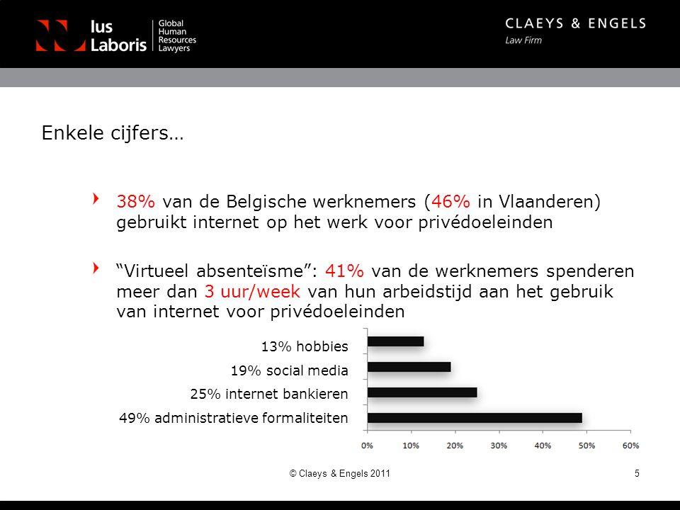 Enkele cijfers… 38% van de Belgische werknemers (46% in Vlaanderen) gebruikt internet op het werk voor privédoeleinden Virtueel absenteïsme : 41% van de werknemers spenderen meer dan 3 uur/week van hun arbeidstijd aan het gebruik van internet voor privédoeleinden © Claeys & Engels 20115 13% hobbies 19% social media 25% internet bankieren 49% administratieve formaliteiten