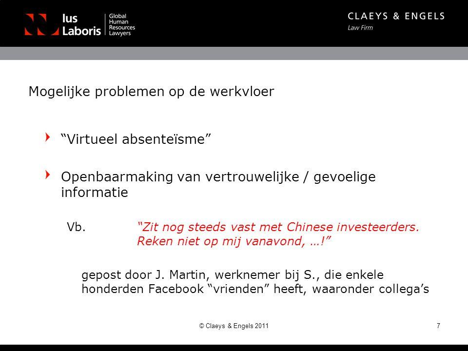 Mogelijke problemen op de werkvloer Virtueel absenteïsme Openbaarmaking van vertrouwelijke / gevoelige informatie Vb.