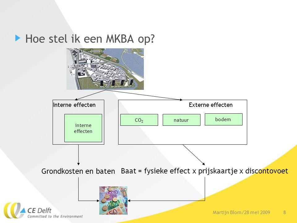 9Martijn Blom/28 mei 2009 Voorbeeld: Groene daken •Zonder MKBA: •Direct –Besparing brandstof (reductie 15%) –Geluidsdemping •Extern –Waterbuffering –CO 2 -reductie –zuivering lucht (O 3, NO x en PM 10, 85 kg/hectare/jaar) •Met MKBA privaat rendement -14,68 Euro/m 2 publiek rendement + 21,20 Euro/m 2