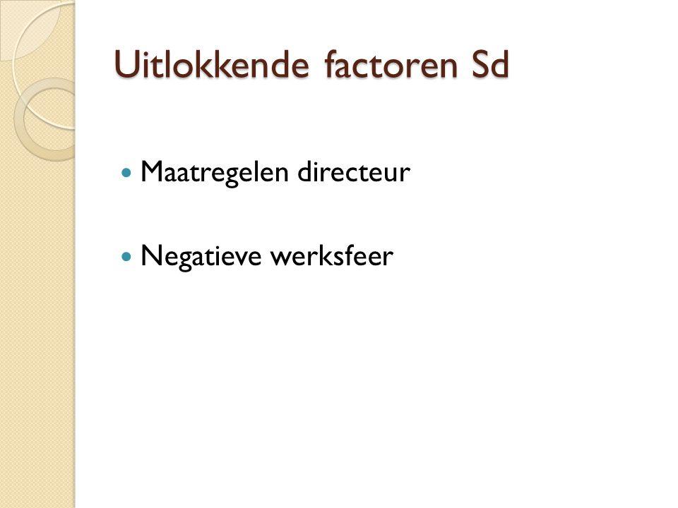 Uitlokkende factoren Sd  Maatregelen directeur  Negatieve werksfeer