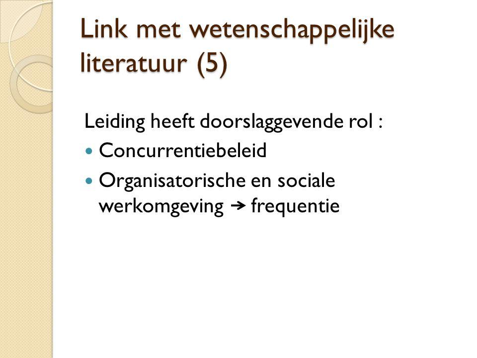 Link met wetenschappelijke literatuur (5) Leiding heeft doorslaggevende rol :  Concurrentiebeleid  Organisatorische en sociale werkomgeving frequent